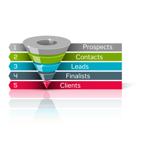 Sales funnel 3d, vector graphics